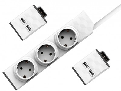 PowerStrip Modular Switch 1,5 m cable + 2x USB modul